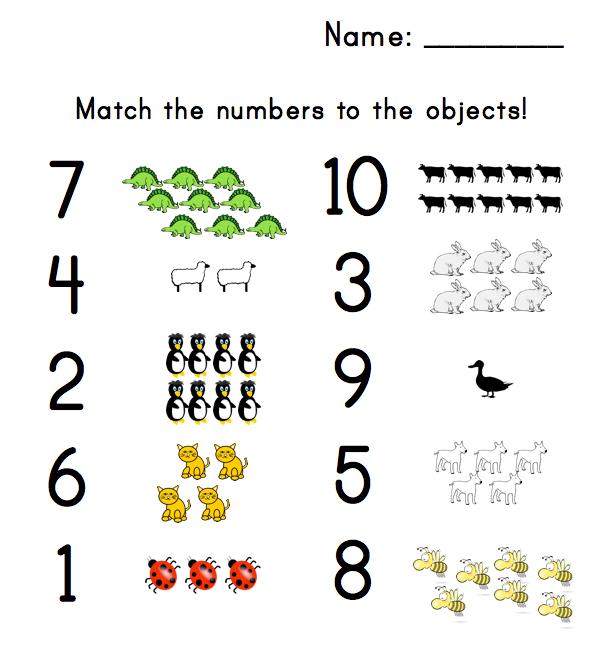 Preschool Number Matching Worksheet – Matching Numbers Worksheet